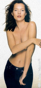 Kate Moss topless in Calvin Klein jeans ad