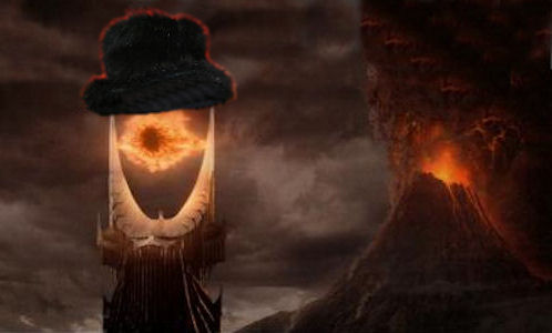 eye of sauron with mount doom and fuzzy top hat